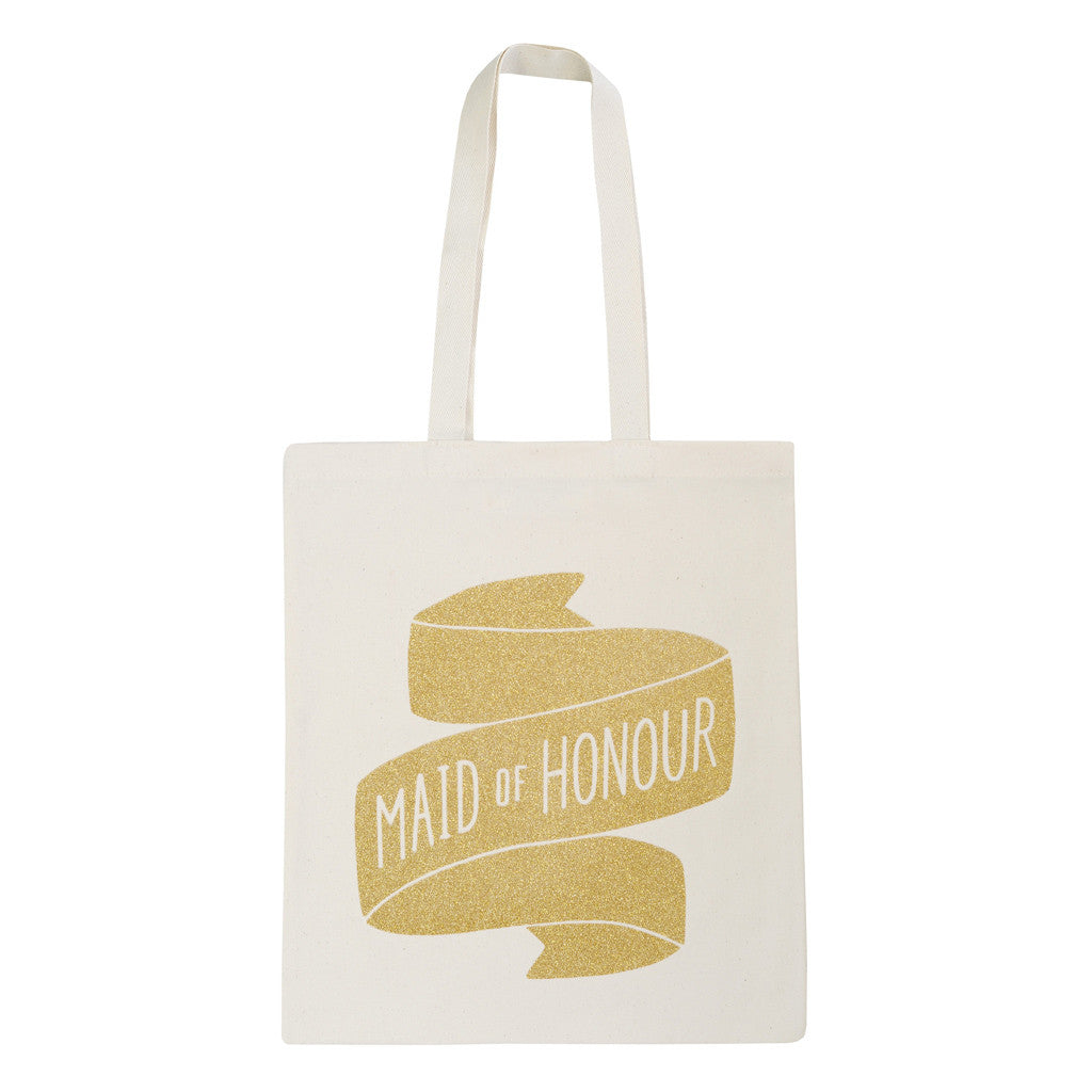 maid of honour canvas bag gold glitter accessories