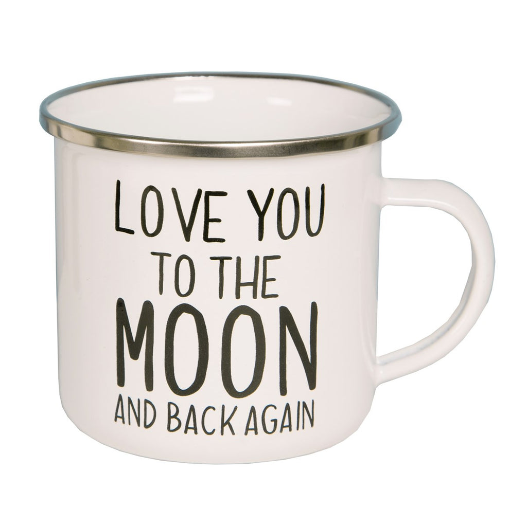 Love you to the moon and back enamel mug