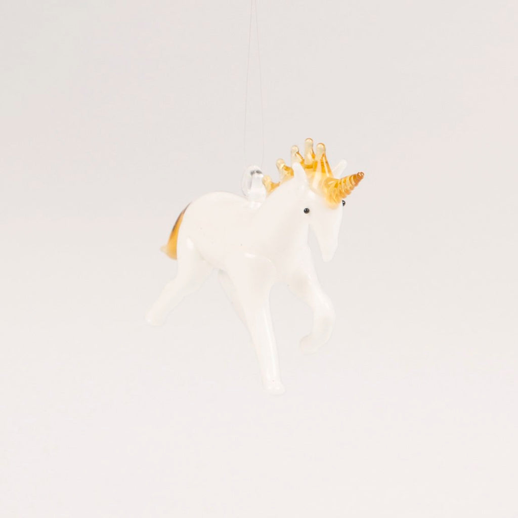 Unicorn Blown Glass Decoration