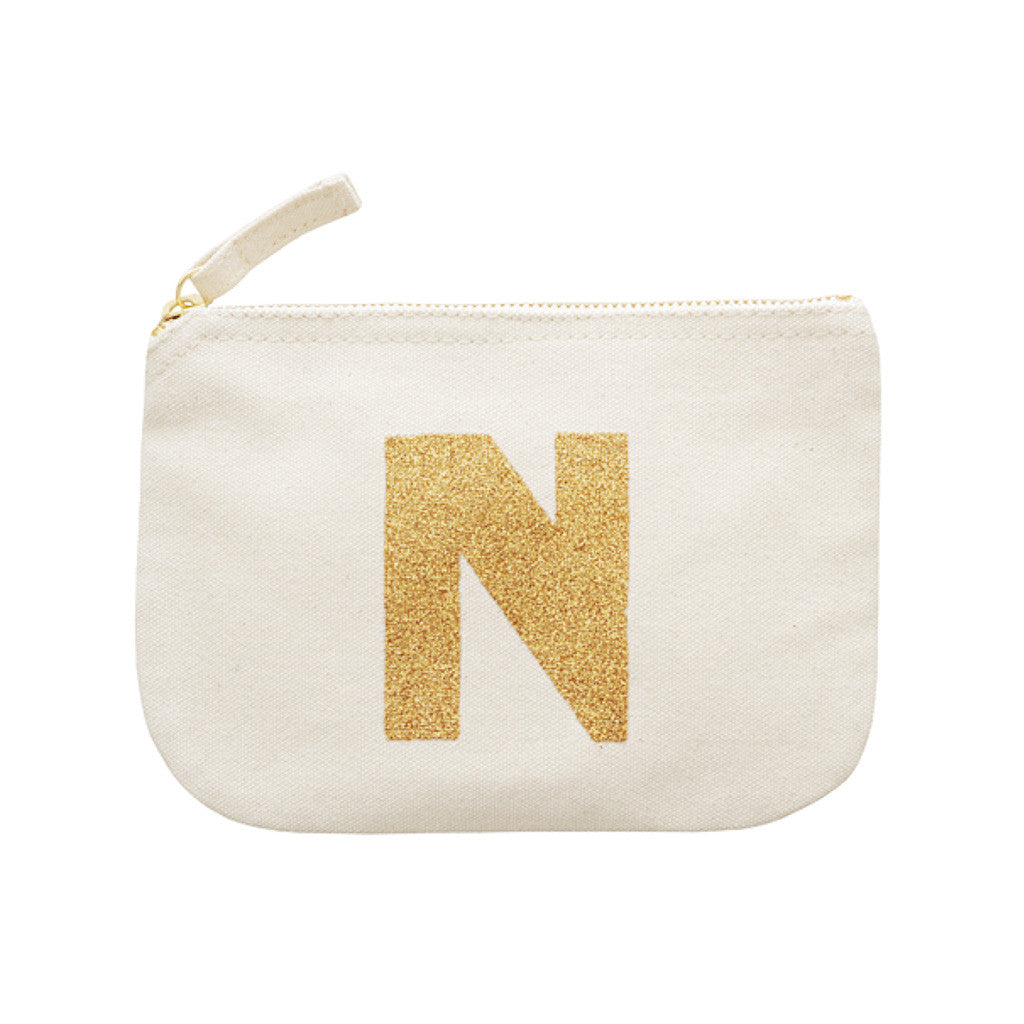letter glitter pouch N canvas accessories