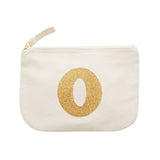 letter glitter pouch O canvas accessories