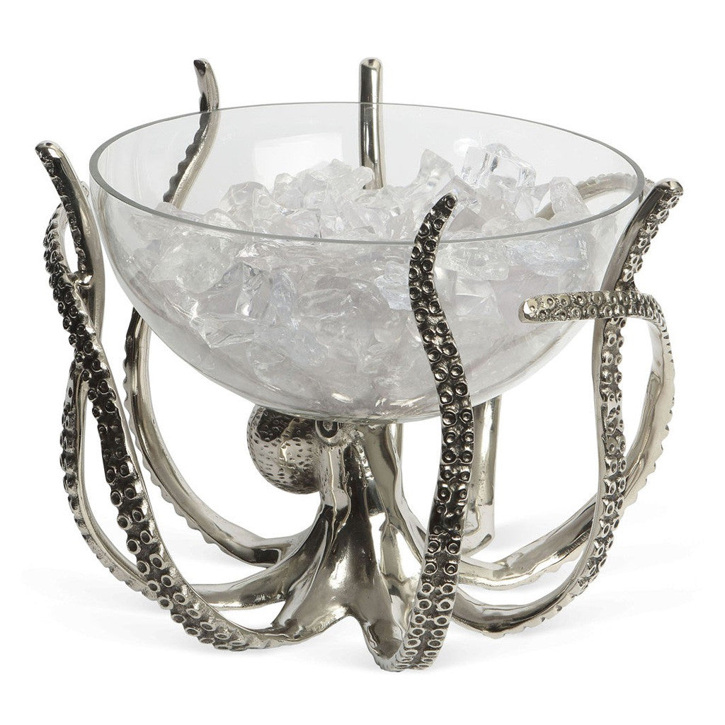 octopus stand and glass bowl eating and drinking