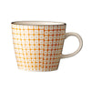 carla square pattern mug orange with black rim