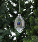 Glass Peacock Feather Ball Bauble