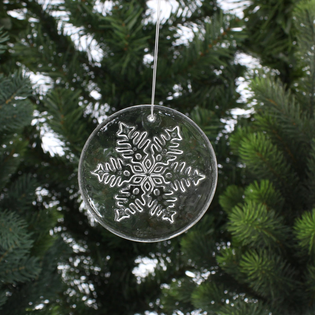 Snowflake Clear Disc Hanging Decoration