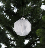 Marble Effect Glass Bauble White And Grey