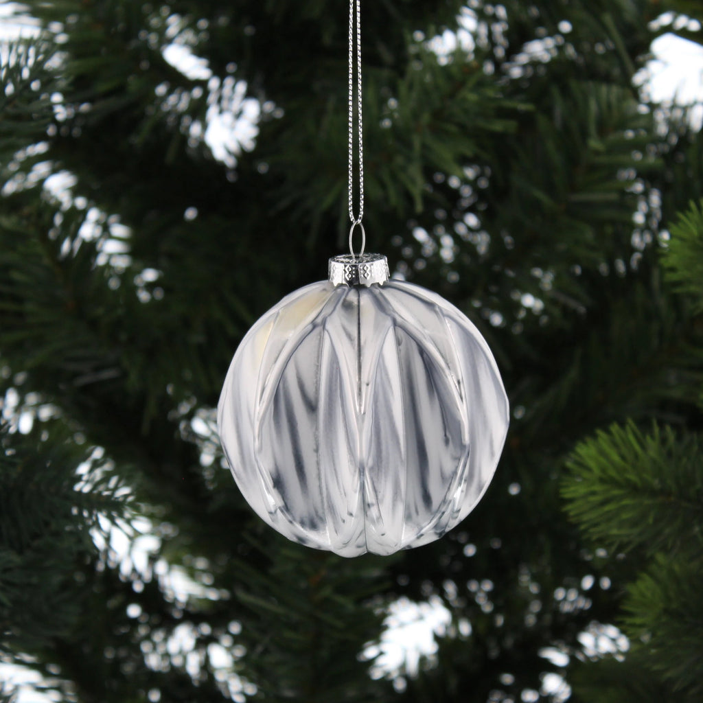 Round Geometric Marble Grey Hanging Decoration