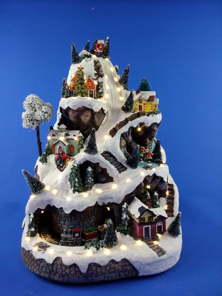 Animated Musical Mountain Village Scene 46cm