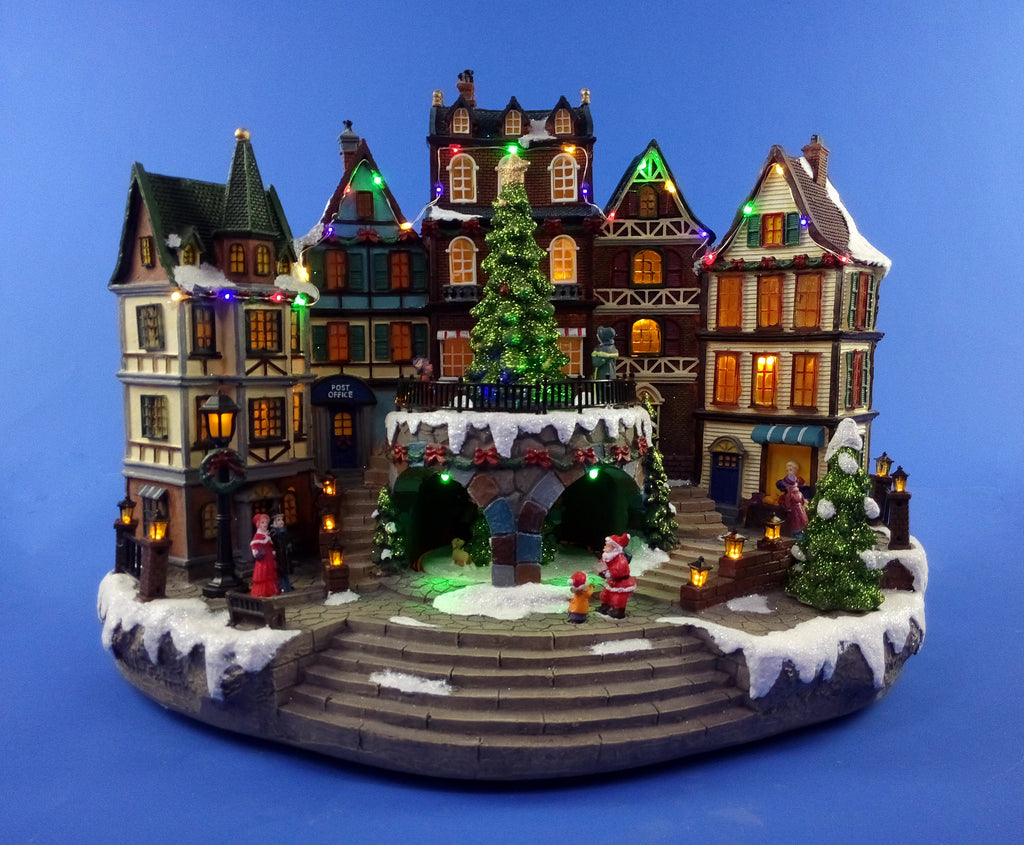 Animated Musical Town Scene 42cm