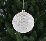 White And Silver Knit Design Bauble