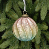 Spiral Textured Mermaid Colours Glass Bauble