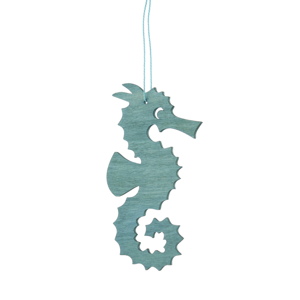Wooden Seahorse Decoration Blue