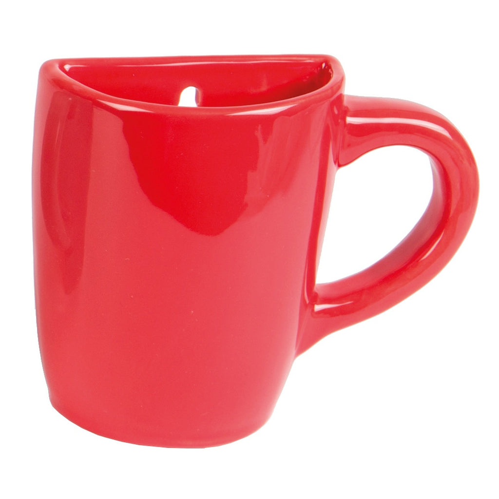 wall mounted mug vase in red