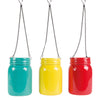 hanging mason jar vase blue/yellow/red