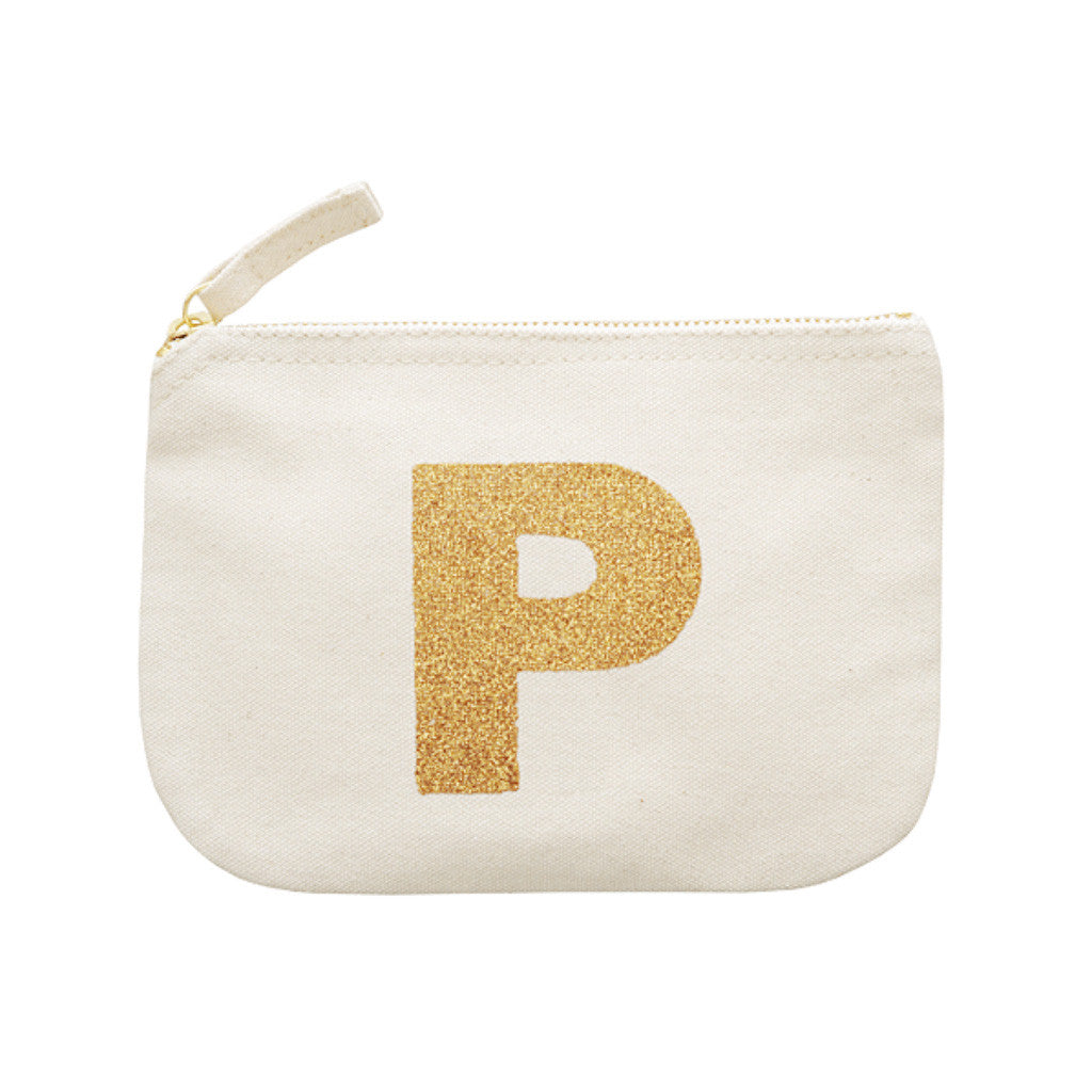 letter glitter pouch P canvas accessories