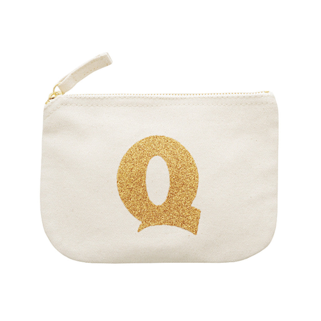 letter glitter pouch Q canvas accessories