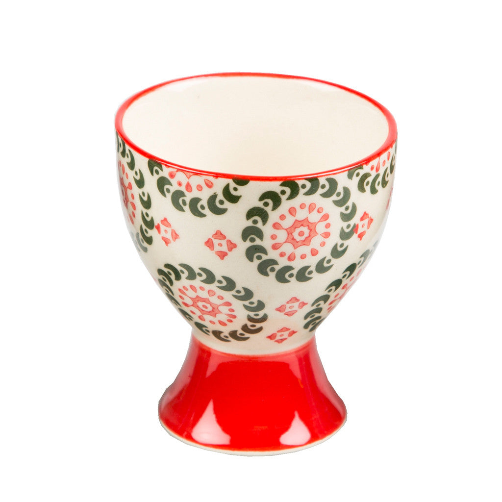 boho egg cup red