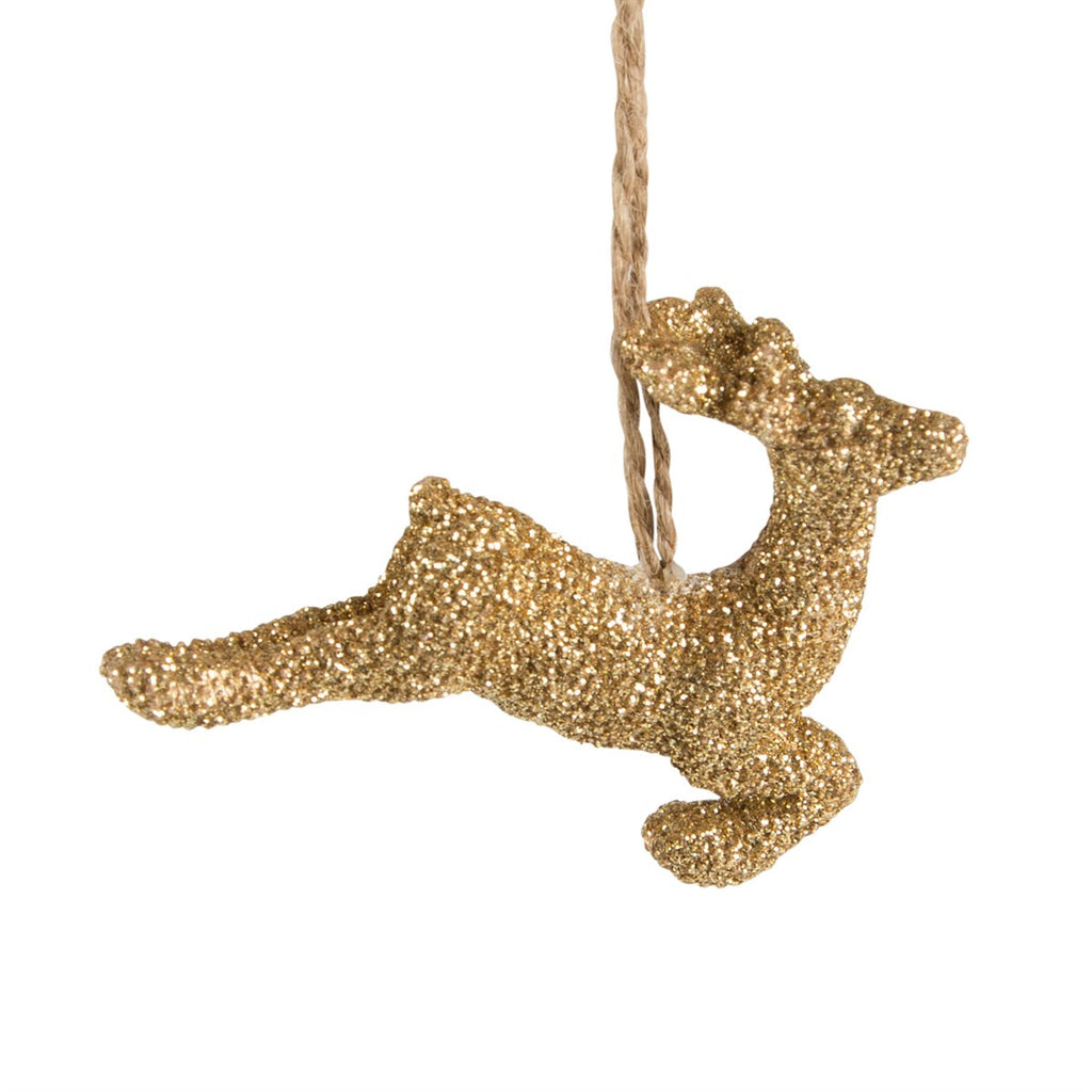 Glitter Gold Reindeer Decoration