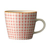carla square pattern mug red with orange rim