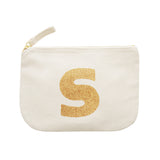 letter glitter pouch S canvas accessories