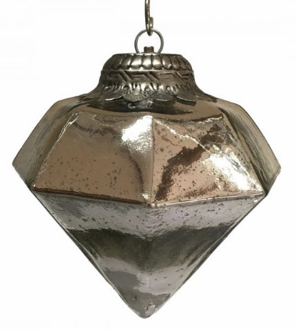 Large Diamond Bauble (28cm) Antique Silver