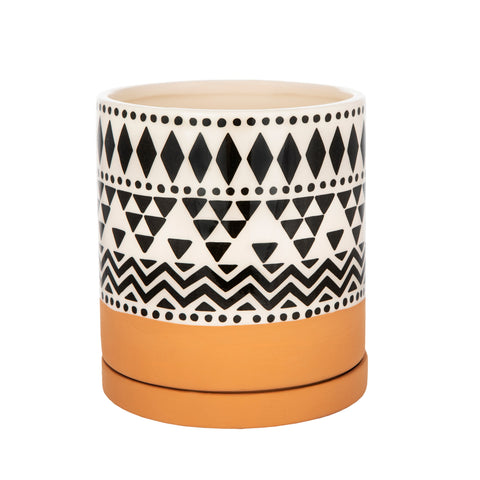 Geometric Design White Flowerpot