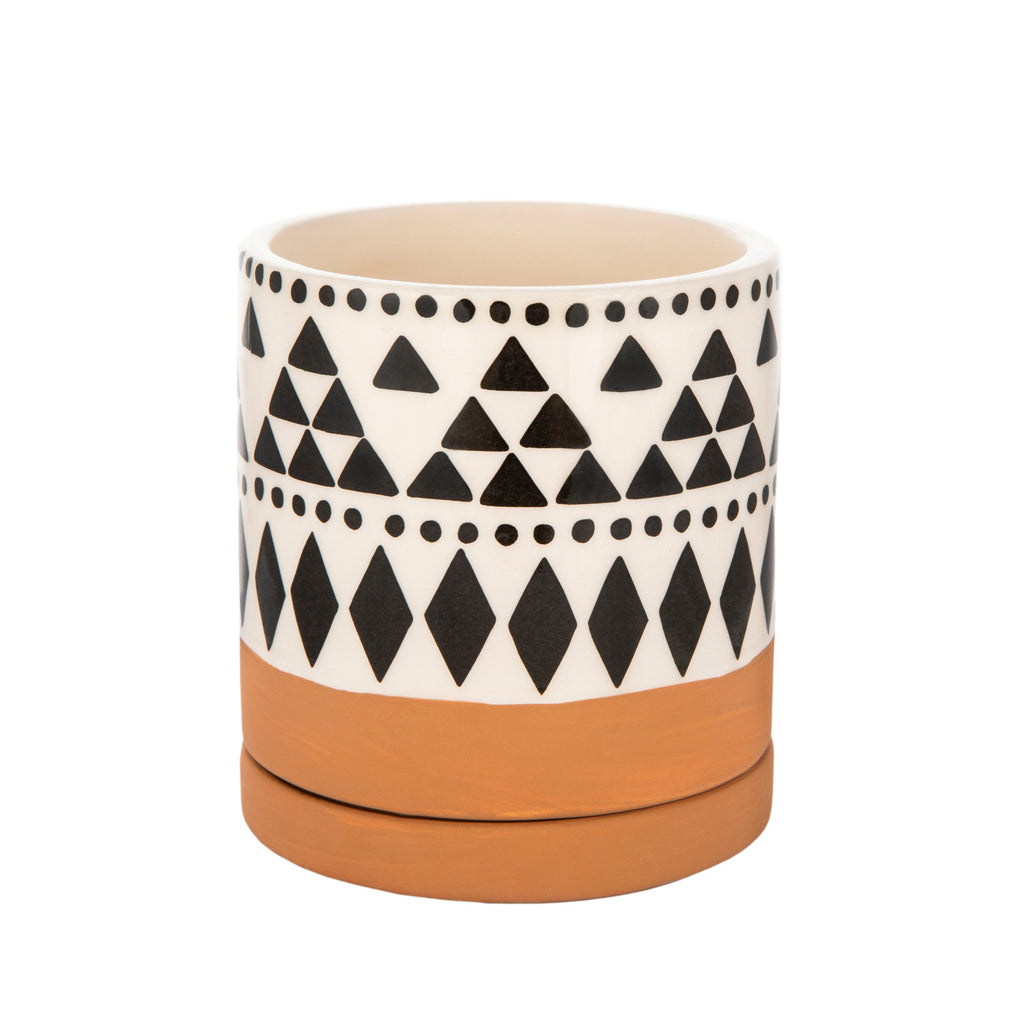 Scandi Boho Tribal Geometric Mini Planter With Saucer