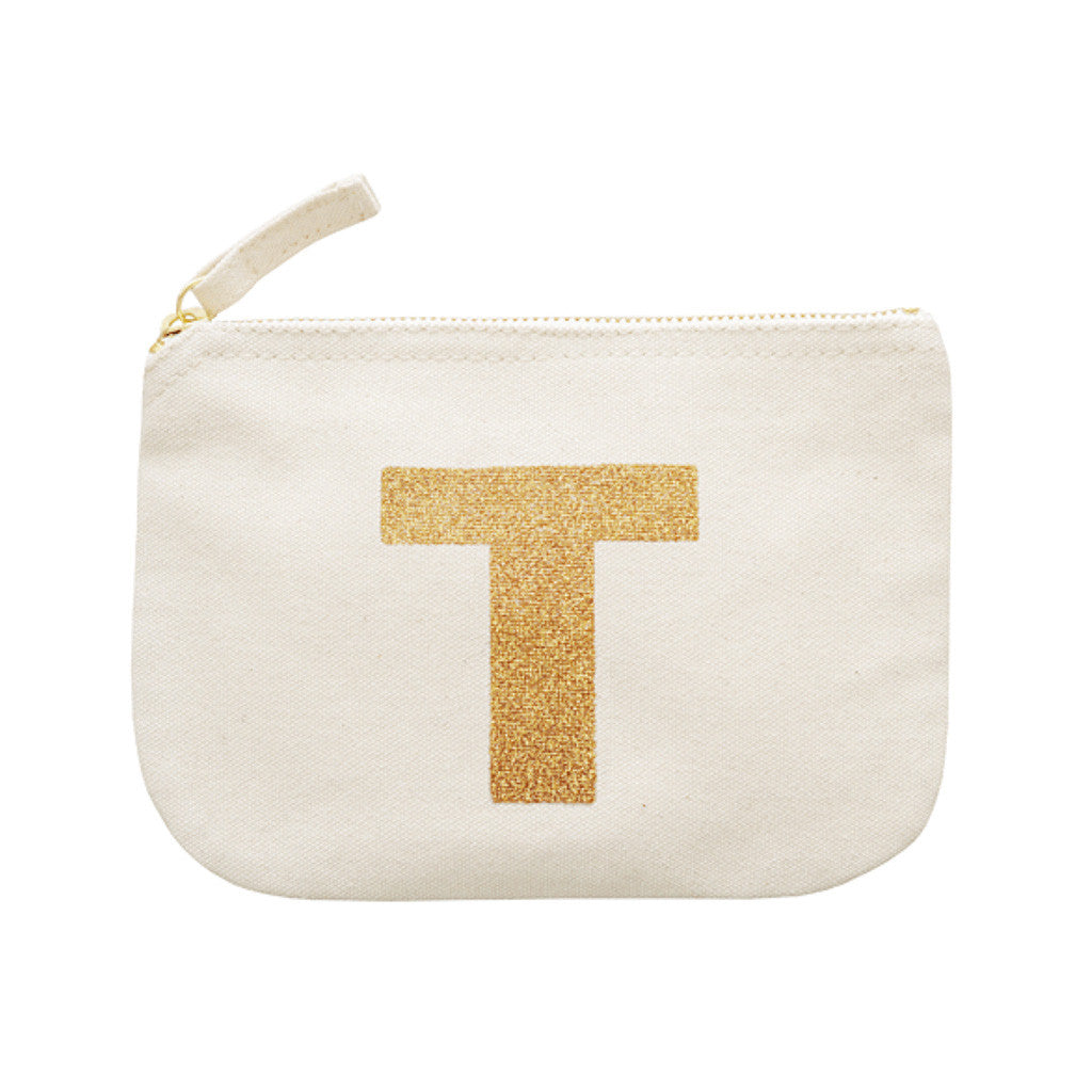 letter glitter pouch T canvas accessories