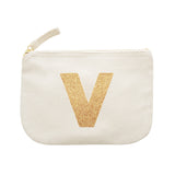 letter glitter pouch V canvas accessories