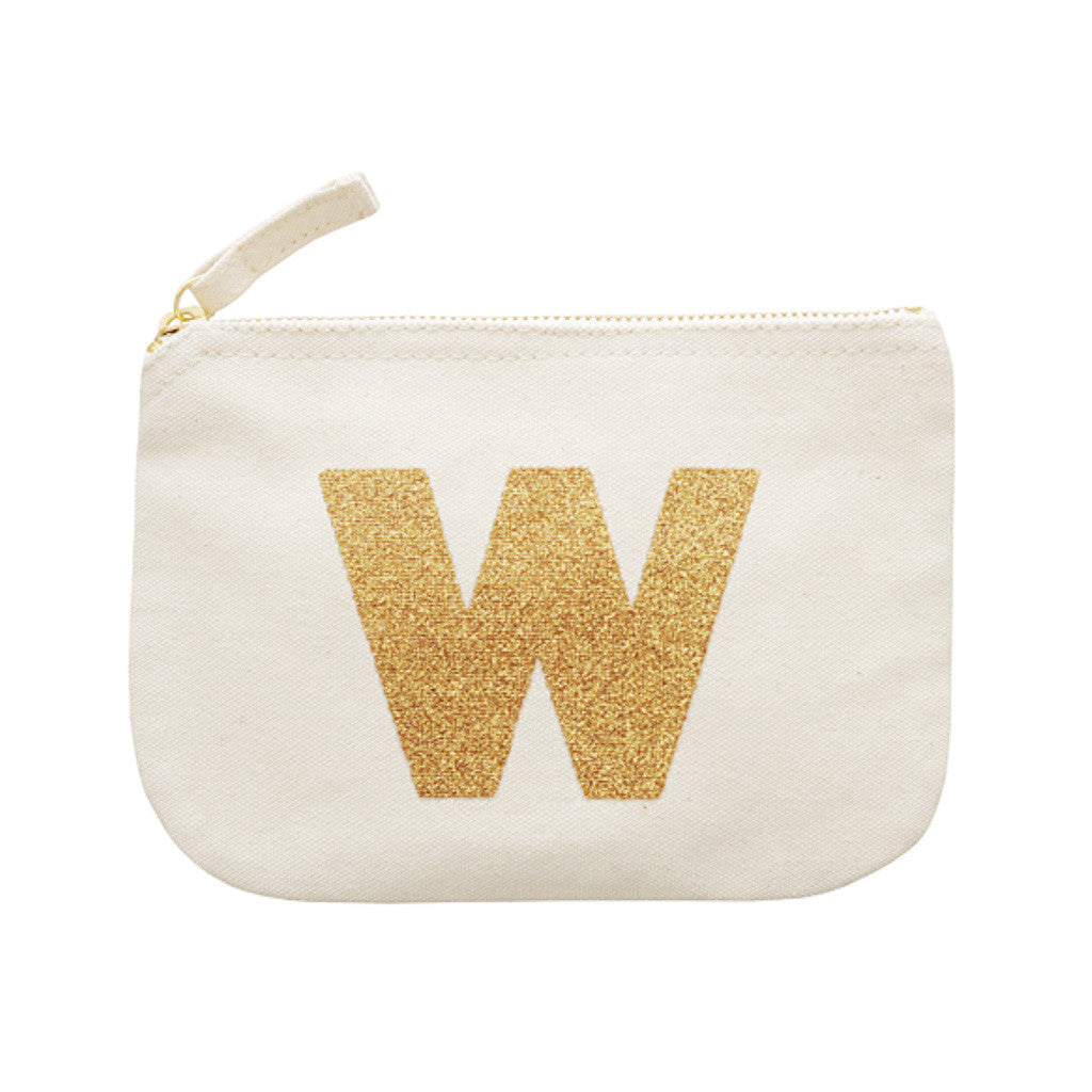 letter glitter pouch W canvas accessories