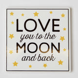 love you to the moon and back gold star coaster tableware