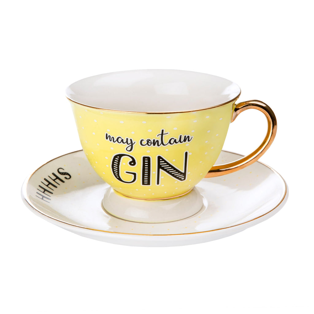 May Contain Gin Cup and Saucer Set