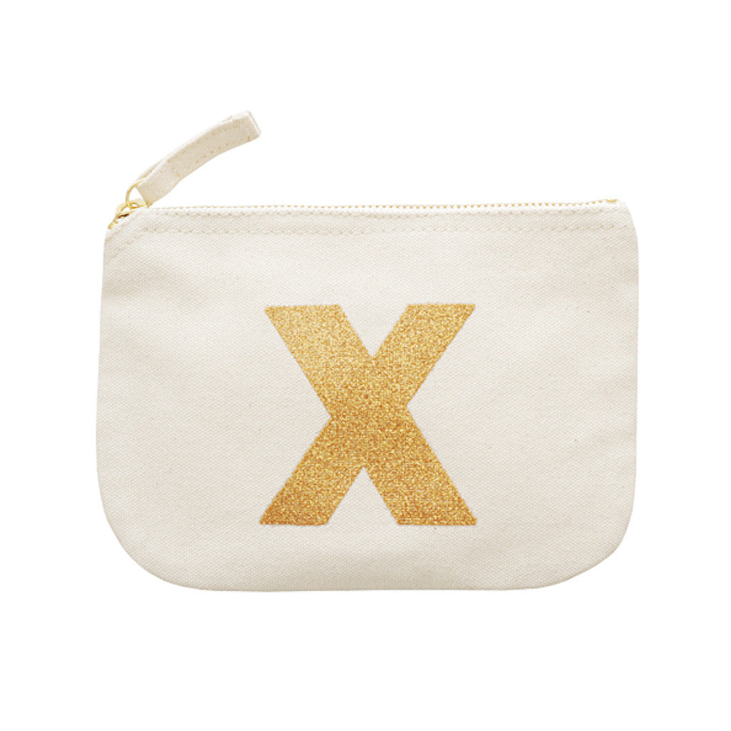letter glitter pouch X canvas accessories