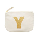 letter glitter pouch Y canvas accessories