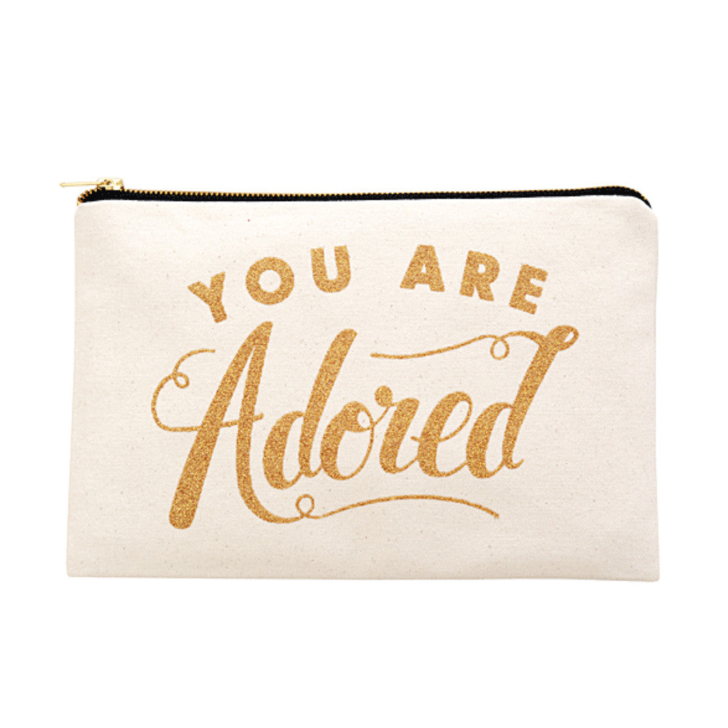 you are adored large canvas pouch gold glitter accessories