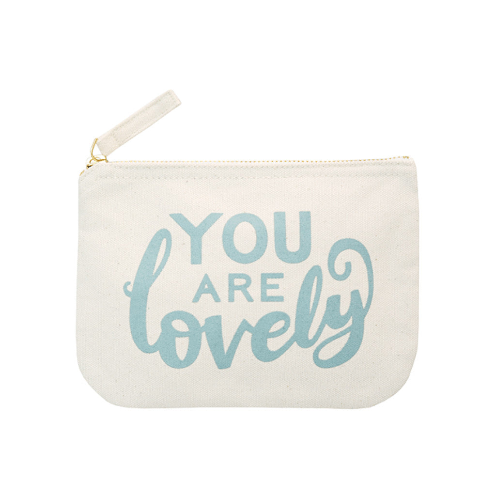 you are lovely little canvas pouch blue accessories