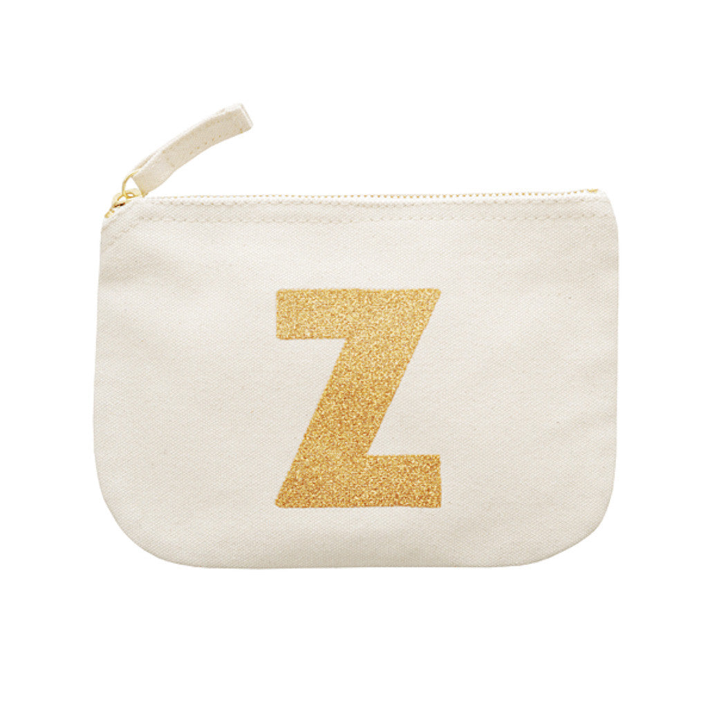 letter glitter pouch Z canvas accessories