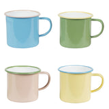 enamel blue/green/pink/yellow camping mug