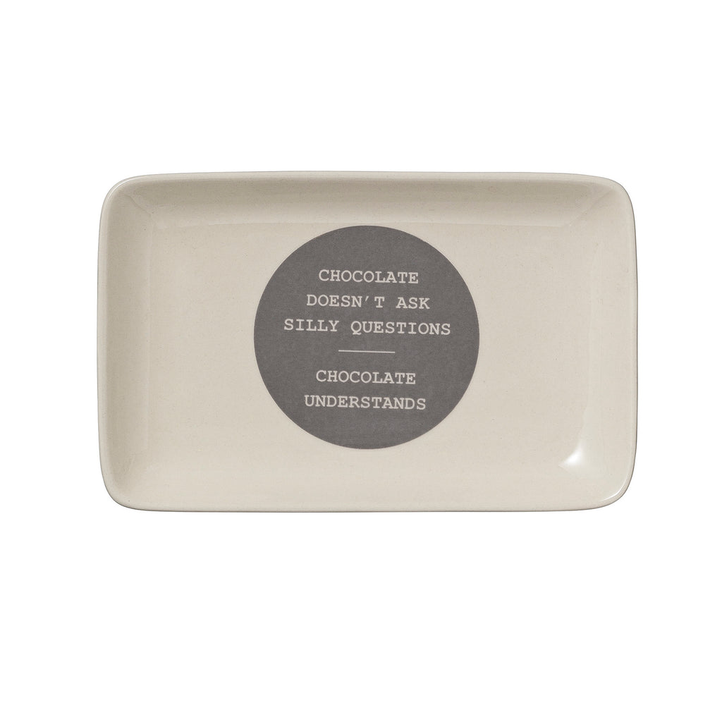 Chocolate Silly Questions Rectangle Dish