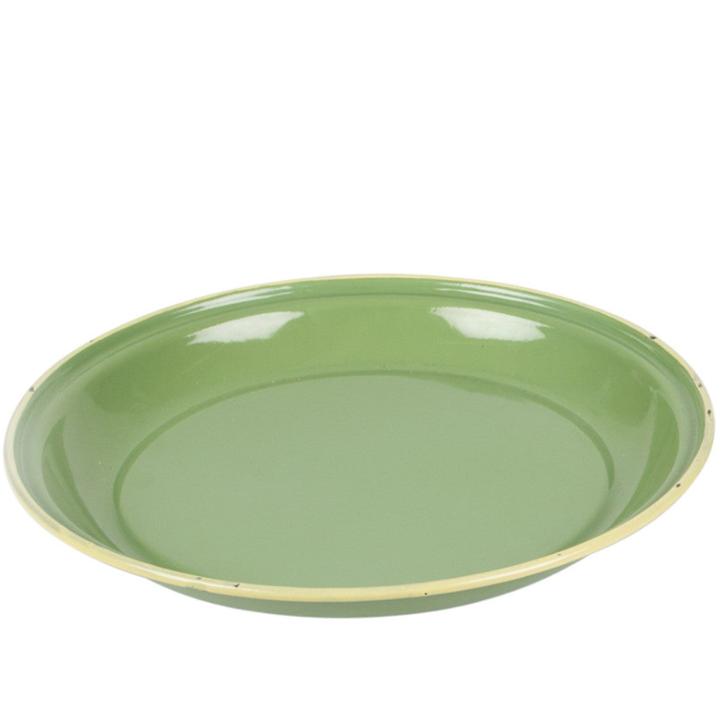 enamel green camping plate