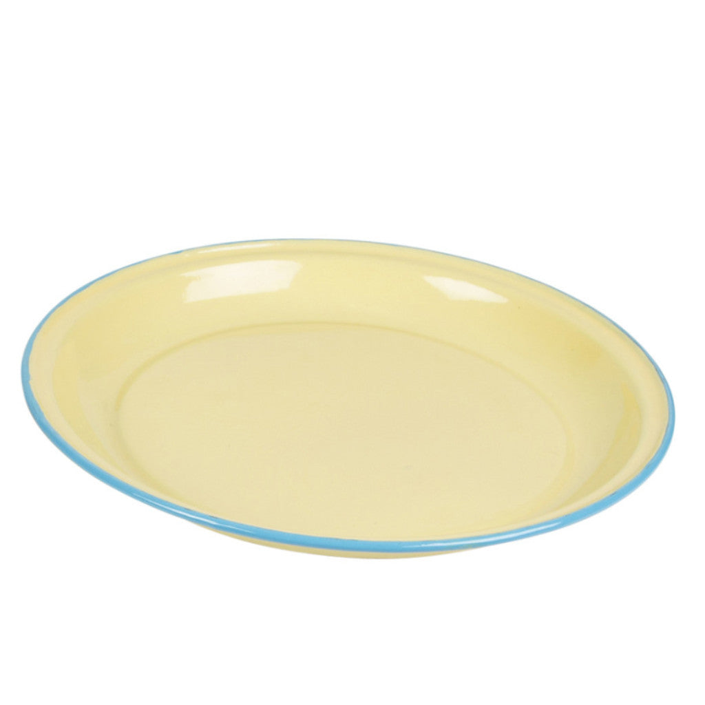 enamel yellow camping plate