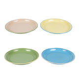 enamel pink/yellow/green/blue camping plate