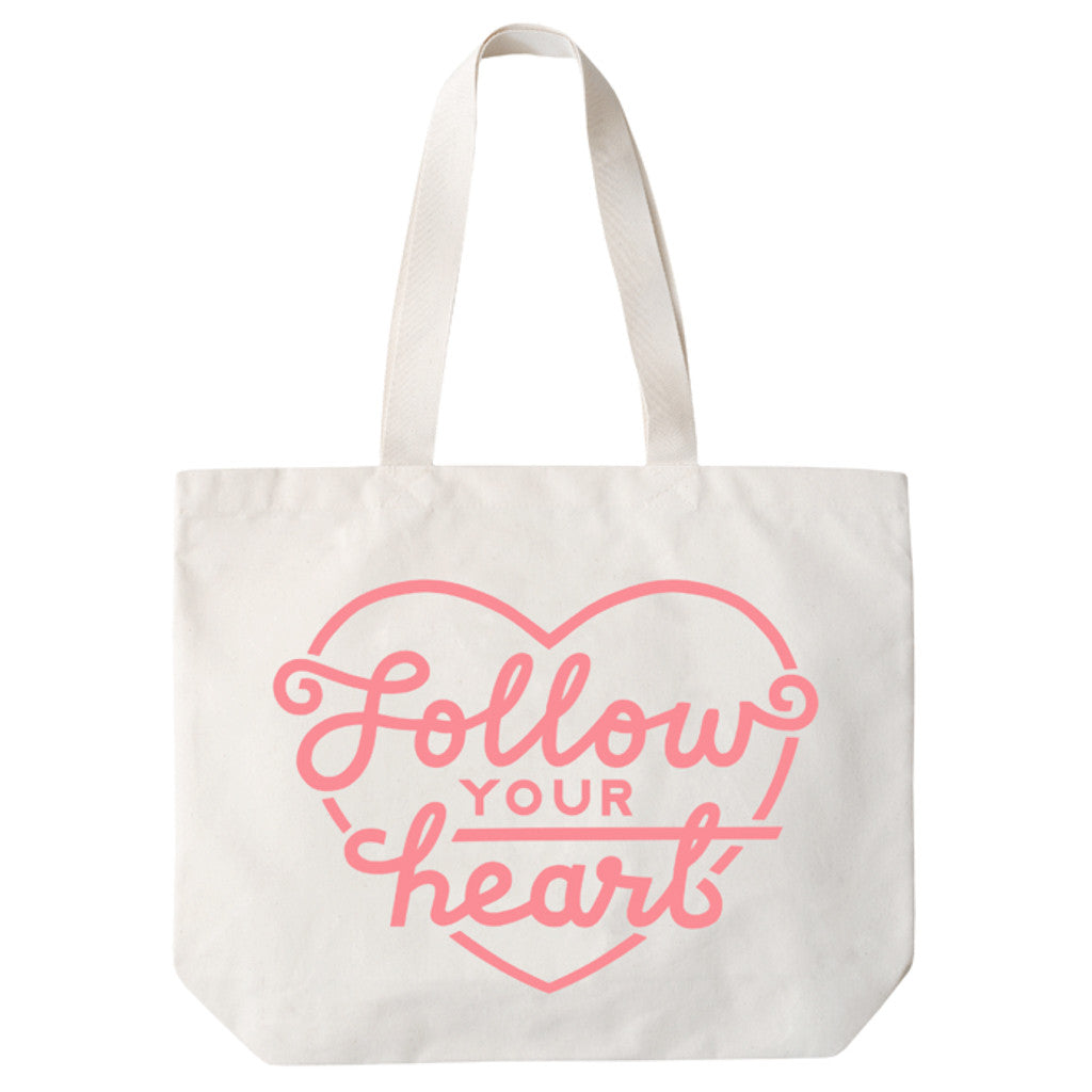 follow your heart big canvas bag pink accessories