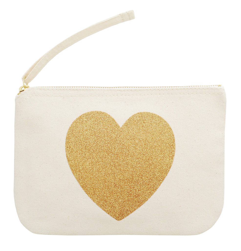 heart canvas small pouch gold glitter accessories