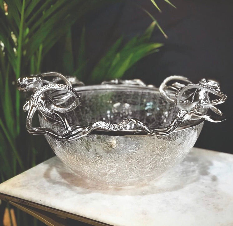 Large Octopus With Crackle Glass Bowl