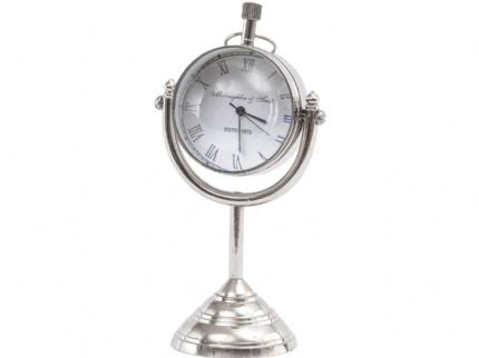 Mini Nickel Globe Paperweight Mantel Clock