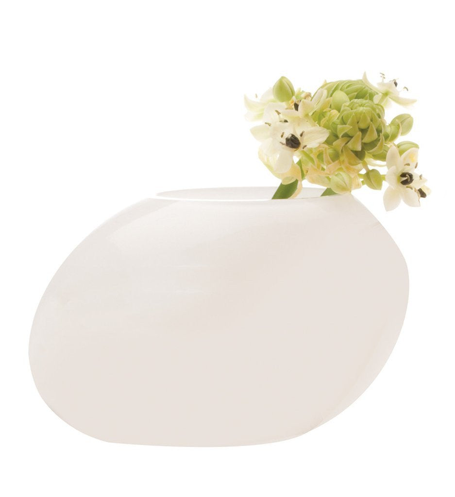Rock Pebble Glass Vase White
