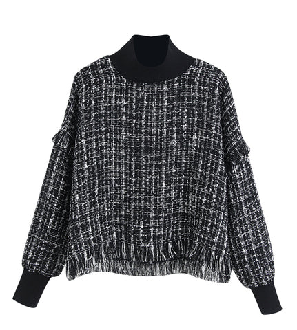 Addison Turtle Neck Tweed Top