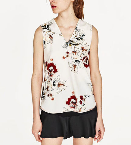 Sofia Drape Back Print Top