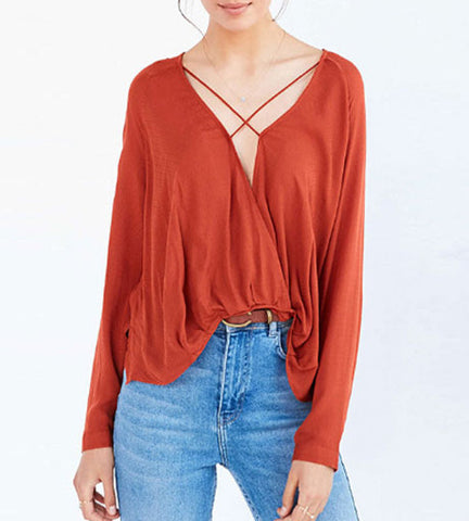 Brielle Polyester Criss Cross Top